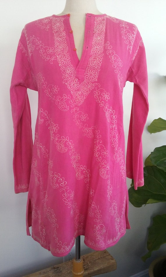 70s PINK COTTON TUNIC—Beach Cover-Up—White Embroid
