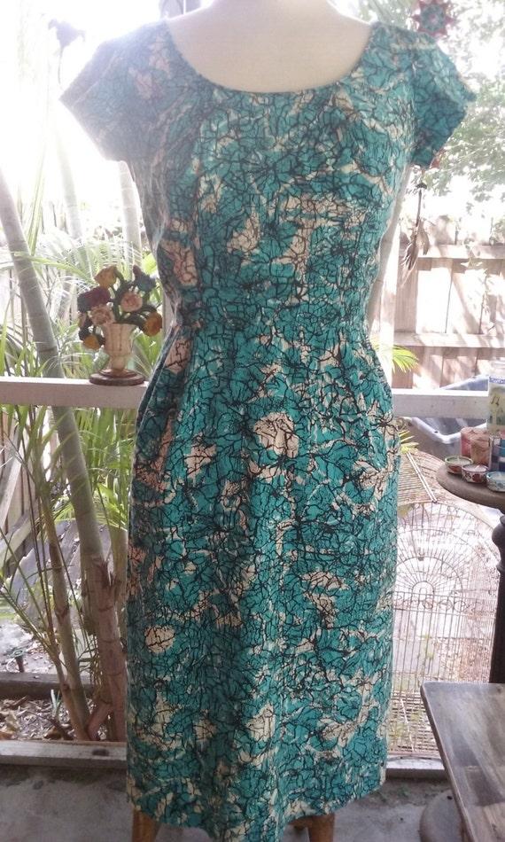 50s DON LOPER--Batik Cotton Wiggle Dress--Aqua, Bl