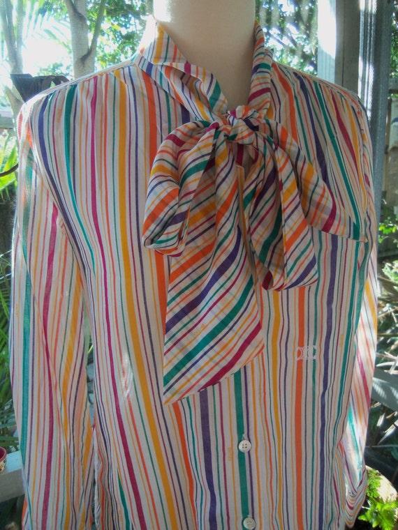 70s CÉLINE--Rainbow Striped Cotton-Voile Top--Logo