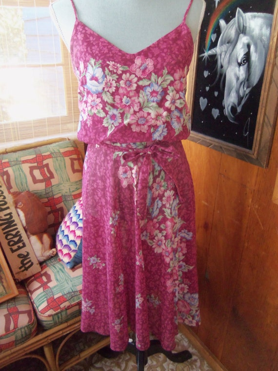 80s FLORAL VOILE SUNDRESS--Mulberry Color--Poly/Co