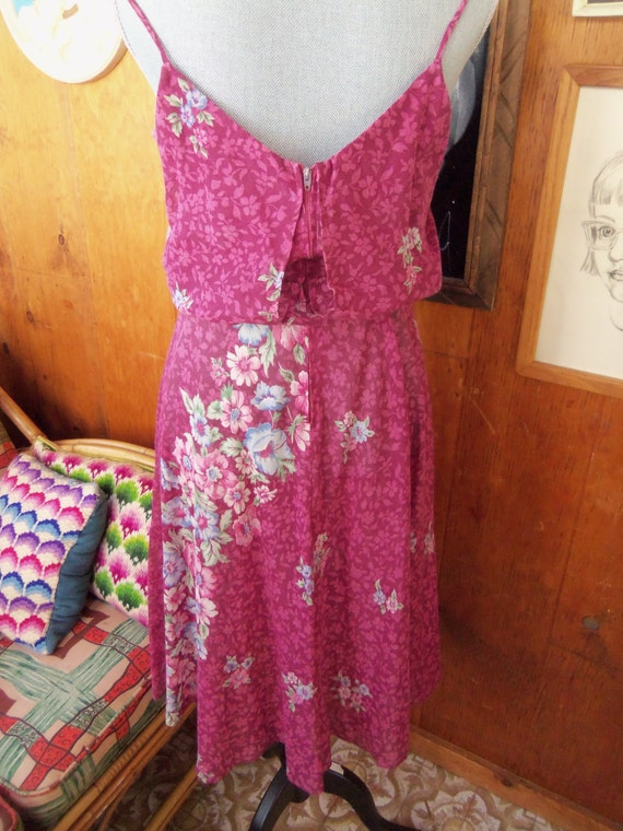 80s FLORAL VOILE SUNDRESS--Mulberry Color--Poly/C… - image 5