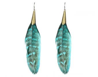 Boho teal blue feather earrings - surgical steel earrings, stainless steel, nickel free, hypoallergenic long feather earrings