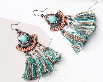 Turquoise tassel earrings - surgical steel earrings, turquoise green, copper bronze and coral pink earrings, stainless steel, nickel free