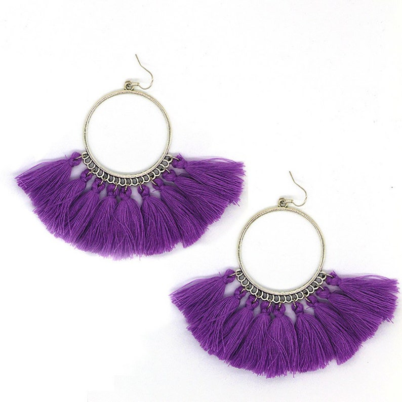 98fac755779 Long tassel earrings - surgical steel silver earrings. Choose purple, dark  blue, red, white, pink hoop tassel. nickel free hypoallergenic