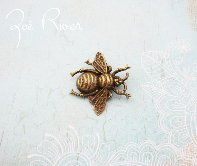 Dark gold bronze bee brooch. Bee jewelry. Bee pin. Bee broach. image 0