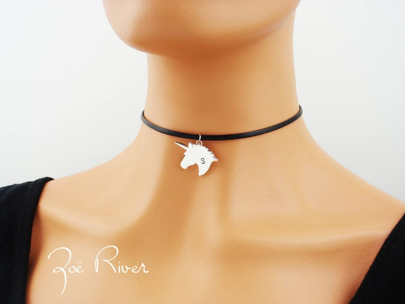 97af8c6071a Personalized unicorn choker. Dainty choker necklace. Monogram | Etsy