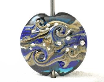 Royal Blue Handmade Lampwork Glass Focal Bead   Pendant Bead for Jewellery Making   UK SRA