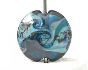 Inky Blue Lampwork Glass Focal Bead   Handmade Glass Bead for Jewellery Making   UK SRA