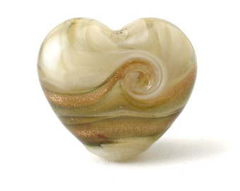 Lampwork Heart Focal Bead   Gold and Cream Handmade Glass Bead   UK Lampwork SRA