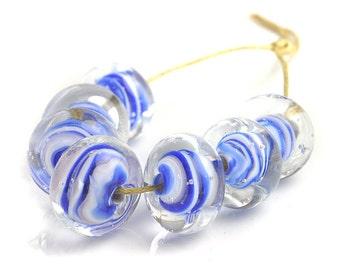 Blue Striped Lampwork Beads   Blue and White Lampwork Glass Beads   Blue Swirls Handmade Bead Set   Flameworked Beads   UK SRA artisan beads