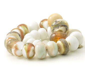 Lampwork Beads | Neutral Orphan Beads | Handmade Lampwork Glass Bead Mixed Set | Artisan Glass | UK SRA