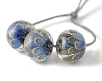 Blue Flowers Lampwork Glass Bead Set   Handmade Petal Beads for Jewellery Making UK