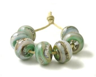 Soft Greens Lampwork Glass Bead Set   Handmade Beads UK   GBUK