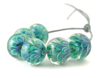 Teal Flowers Lampwork Glass Bead Set   Handmade Petal Beads for Jewellery Making UK