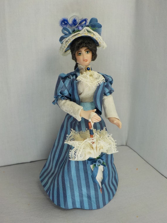Dollhouse Porcelain Doll Victorian Lady in Blue Gown Figure Model Display