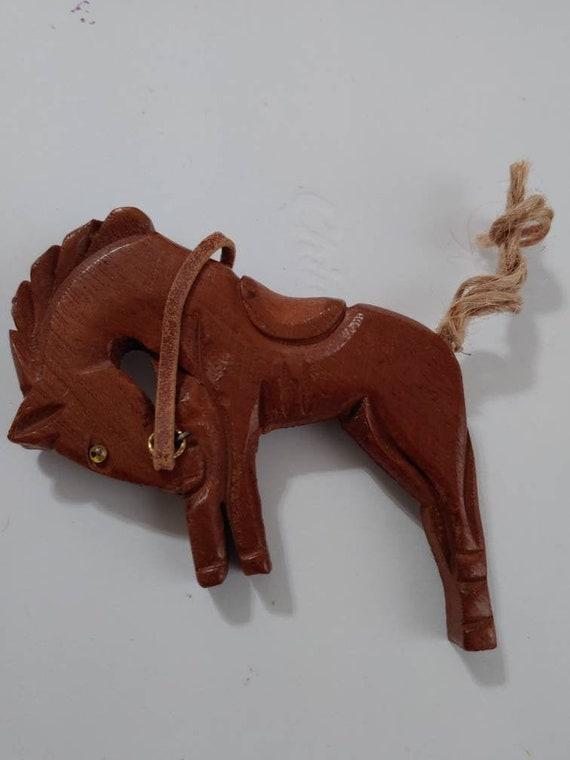 Vintage 1940s Carved Wood Bucking Bronco Horse Bro