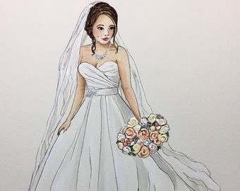 Custom Bridal Illustration. Bridal Portrait. Wedding Gift. Bridal gift. Personalized gift. Wedding Art. Bridal Shower Gift. Anniversary gift