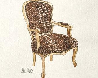 Leopard Print.Leopard Chair.Furniture Sketch.Interior illustration.Interior design.Animal print.Interior art print.Painting of Chair.Leopard