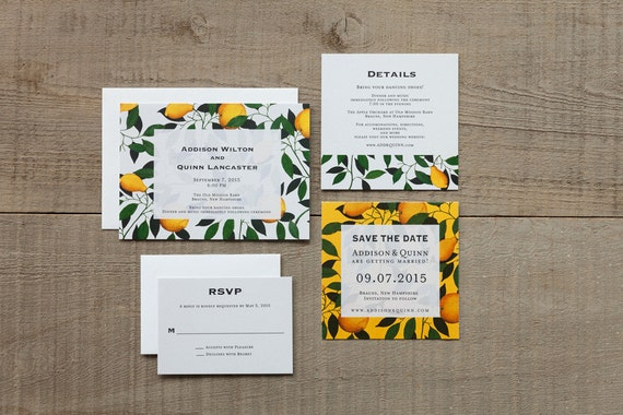 modern lemon tree botanical wedding invitationsrustic lemon etsy