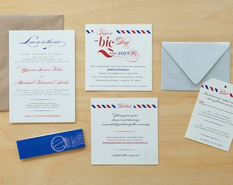 Vintage Air Mail Save the Date Air Mail Wedding Invitations, Airplane Wedding Invites,Destination Save The Date,Love is in the Air Save the