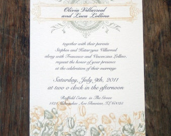 Rustic Vintage Floral Wedding Invitations, Rustic Flower Wedding Invitation,Scroll Wedding Invite,Rustic Floral Monogram Wedding Invites