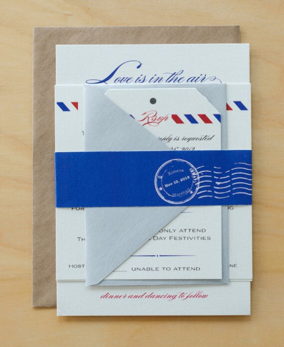 Vintage Air Mail Save The Date Air Mail Wedding Invitations