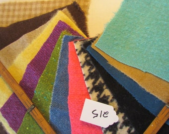 """100% Recycled Felted Wool,  """"Bakers Dozen"""" #13 of 6x6 inch Pieces Perfect for Rug Hooking, Applique and Crafts"""