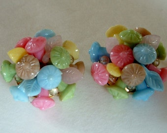 Rare Vintage Glass Flower Bouquet Button Earrings Pink Blue Yellow Green Pastel Hand Wired Glass