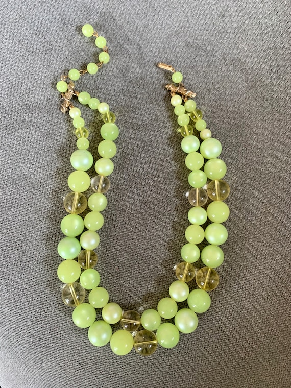 Vintage Moonstone Beaded Double Strand Necklace P… - image 2