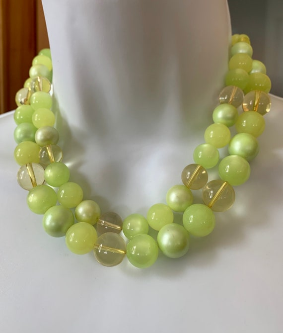 Vintage Moonstone Beaded Double Strand Necklace P… - image 7