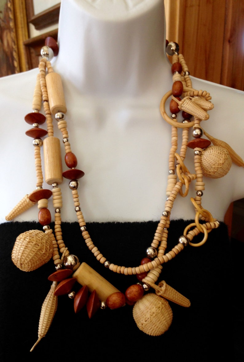 Vintage Very Unique Hand Woven Mini Baskets Necklace Wooden Beads 3 Strand Silver Multi Size Beads
