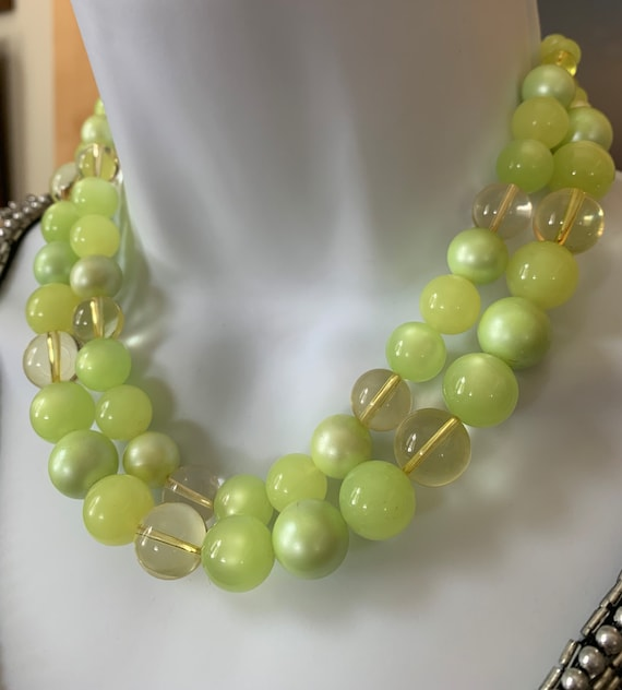 Vintage Moonstone Beaded Double Strand Necklace P… - image 1