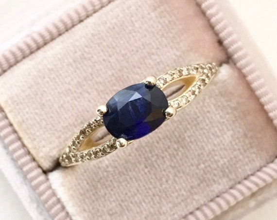 Blue Sapphire Champagne Diamond Ring 14k Yellow