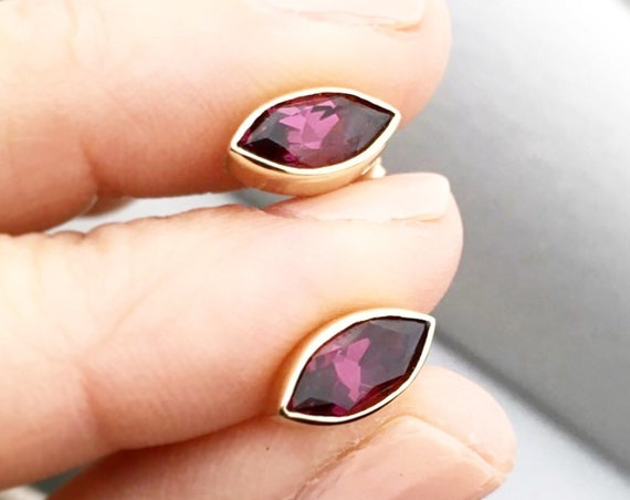Rubellite Tourmaline Stud Earrings 14k Gold