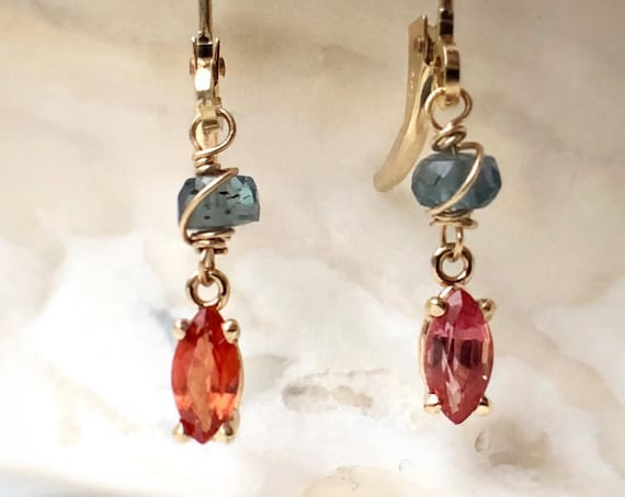 Two Hues Pink Orange Sapphire and Kyanite Earrings  14k Yellow