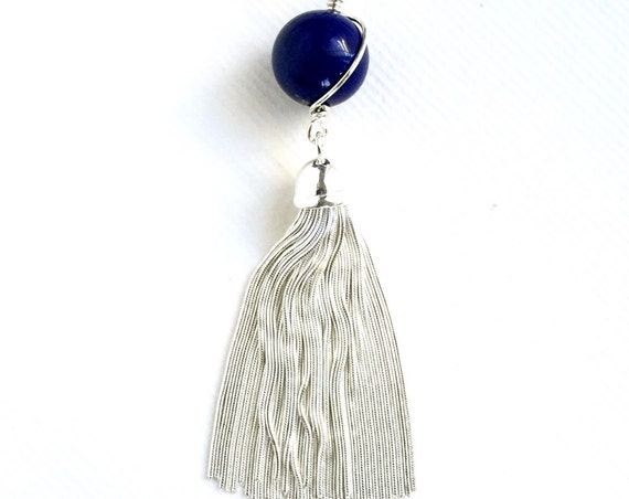 Italian Silver Tassel Lapis Lazuli Necklace Diamond Cut Chain