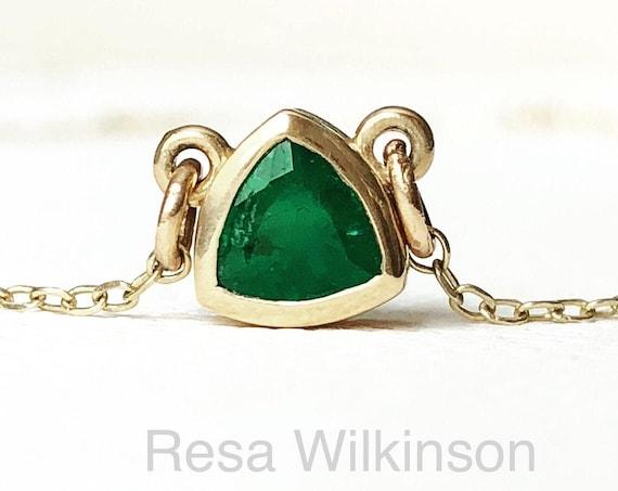 Emerald Trillion Cut Solitaire Bezel set Station Necklace 14k Gold