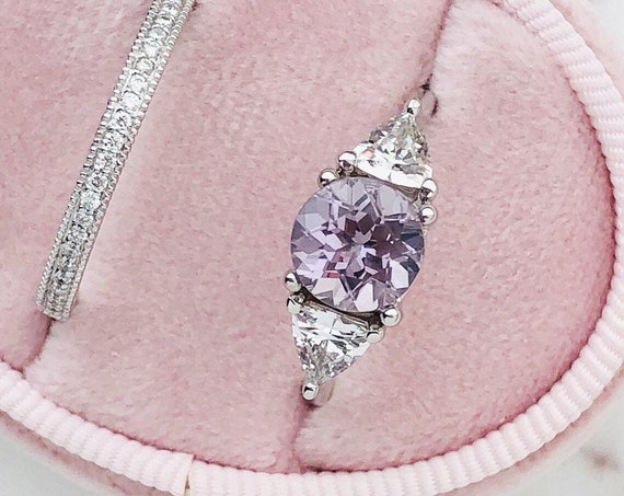 Lavender Spinel and White Sapphire Engagement Ring