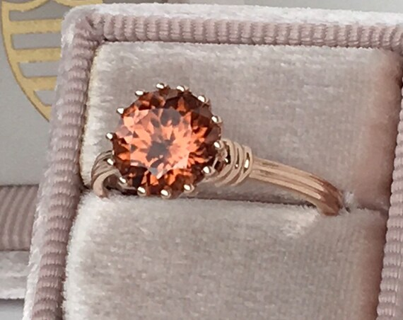Copper Tone Zircon Ring and Band Sixteen Prong Rose Gold