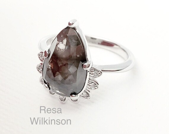 Rose Cut Diamond Halo Engagement 2.94 Carat Pear Shape 14k White