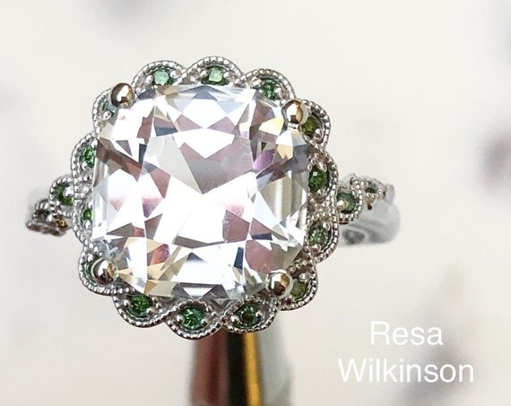 Cushion Cut Goshenite and Green Vine Diamond Ring 14k White