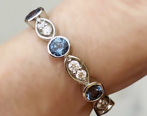 Blue Malawi Sapphire and Diamond Platinum Band Fair Trade Gemstone