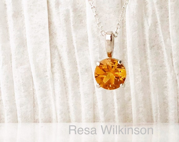 Citrine Solitaire Necklace Sterling Silver