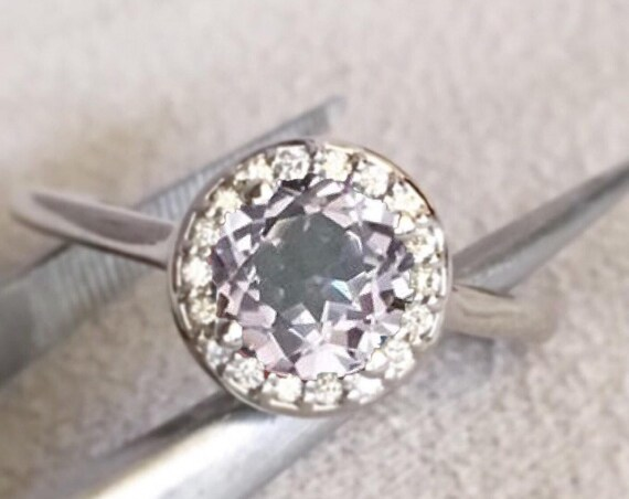 Lavender Gray Spinel Diamond Halo Ring