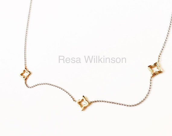 Three Gold Clovers White Gold Chain Two Tone Necklace 14k