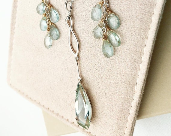 Kite Shape Prasiolite Necklace with Aquamarine Earrings