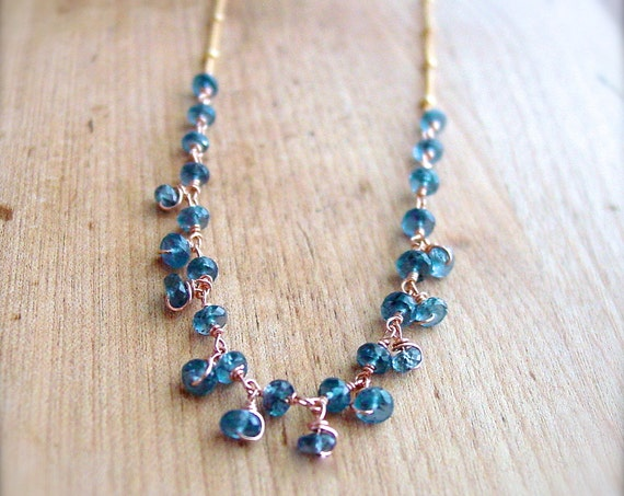 Kyanite Rose Gold Wrapped Necklace Mixed Metals