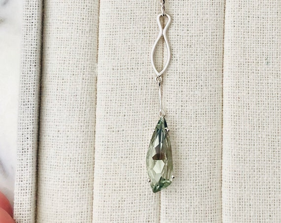 Kite Shape Prasiolite Green Quartz Necklace Sterling Silver