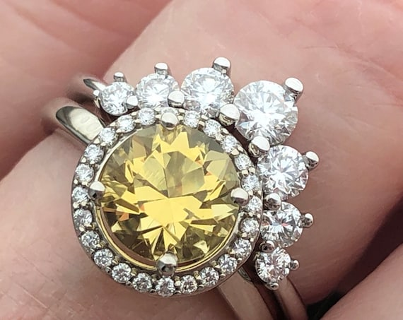 Heliodor and Diamond Halo Ring 14k White Unheated Natural Gemstone Ring