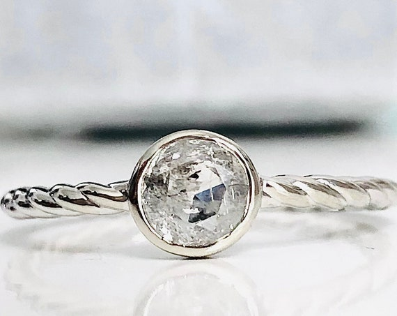 Misty Gray Rose Cut Salt and Pepper Diamond Ring Twisted Rope Band